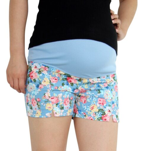 Wheat Turtle 2020 Summer Flower Shorts For Maternity Ultra Thin Hot Pants For Pregnant Women 2
