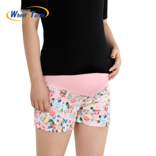 Wheat Turtle 2020 Summer Flower Shorts For Maternity Ultra Thin Hot Pants For Pregnant Women