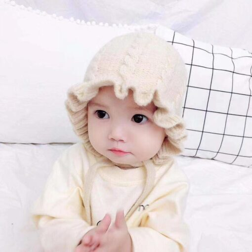 Winter Baby Girls Toddler Solid Print Hats With Ruffle Design Casual Caps Headwear New 1