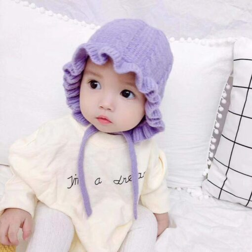 Winter Baby Girls Toddler Solid Print Hats With Ruffle Design Casual Caps Headwear New 2