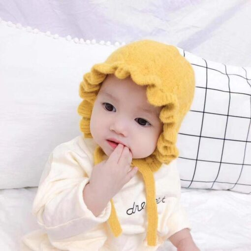 Winter Baby Girls Toddler Solid Print Hats With Ruffle Design Casual Caps Headwear New 3