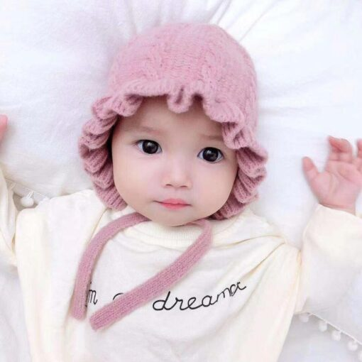 Winter Baby Girls Toddler Solid Print Hats With Ruffle Design Casual Caps Headwear New