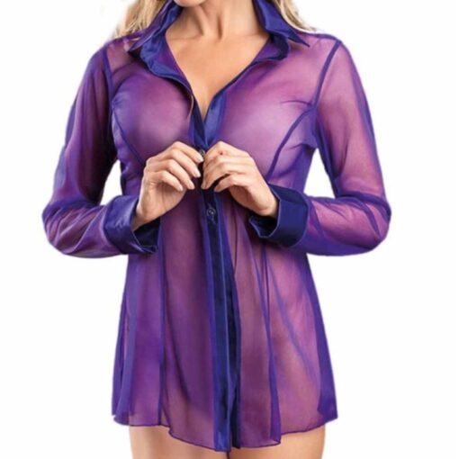 Women Button Lingerie Dress Transparent Clubwear Stripper Long Sleeve Blouse New 2