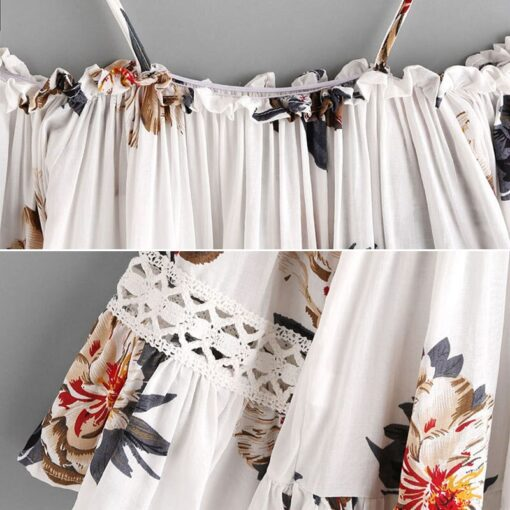 Women Floral Off shoulder Crop Tops Half Sleeves Loose Blouse 1