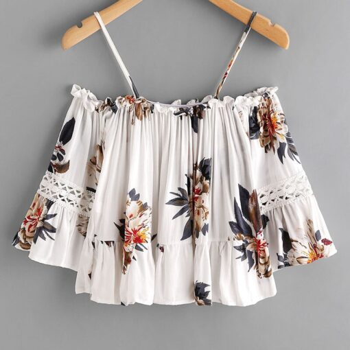 Women Floral Off shoulder Crop Tops Half Sleeves Loose Blouse 4