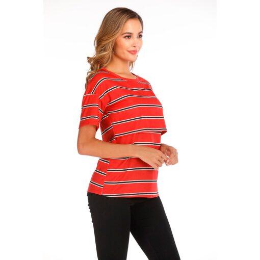 Women Maternity Short Sleeve Striped Nursing Tops T shirt For Breastfeeding Breastfeeding Tops Loose Maternity Clothing 2