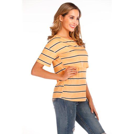 Women Maternity Short Sleeve Striped Nursing Tops T shirt For Breastfeeding Breastfeeding Tops Loose Maternity Clothing 3