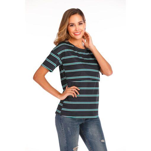 Women Maternity Short Sleeve Striped Nursing Tops T shirt For Breastfeeding Breastfeeding Tops Loose Maternity Clothing 4
