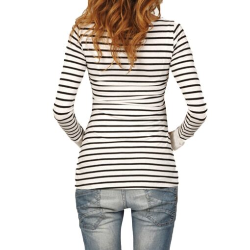 Women Mom Pregnant Casual Striped Long Sleeve Tops Breastfeeding Tops Ladies T Shirt Loose Pregnancy Loose 2
