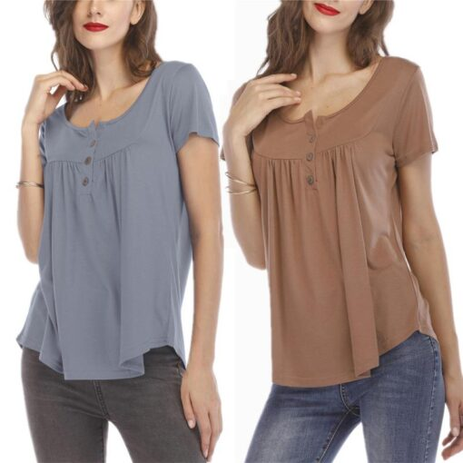 Women s Button Short sleeved T shirt Casual Shirt Pleated Loose Short sleeved Top Summer Comfortable 1