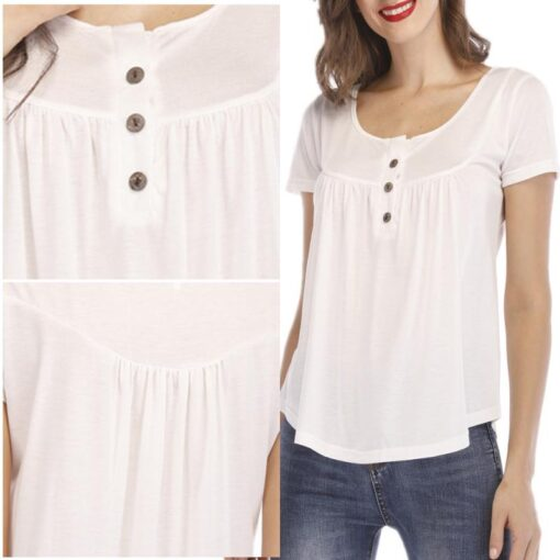 Women s Button Short sleeved T shirt Casual Shirt Pleated Loose Short sleeved Top Summer Comfortable 3