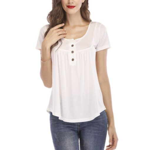 Women s Button Short sleeved T shirt Casual Shirt Pleated Loose Short sleeved Top Summer Comfortable 4