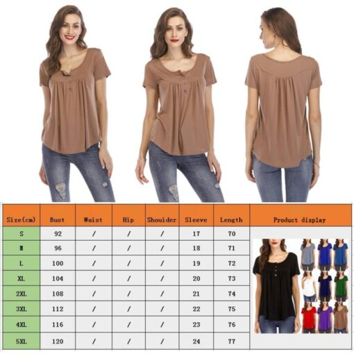 Women s Button Short sleeved T shirt Casual Shirt Pleated Loose Short sleeved Top Summer Comfortable 5