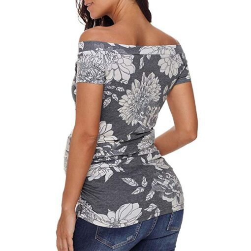 Women s Short Sleeve Tops Breastfeeding Off Shoulder Floral T Shirt Maternity clothes for pregnant women 4