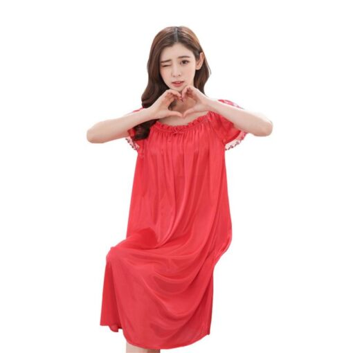 Women s Summer Home Ice Silk Short Sleeve Satin Pyjamas Long Dress Sleepwear Sexy Lingerie 10 2