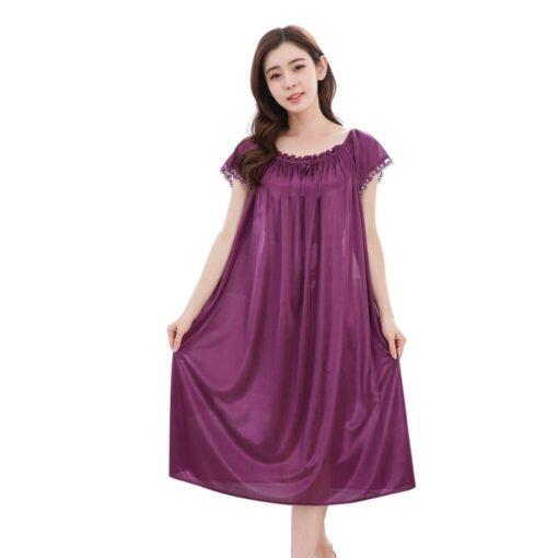 Women s Summer Home Ice Silk Short Sleeve Satin Pyjamas Long Dress Sleepwear Sexy Lingerie 10 3