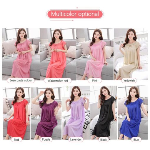 Women s Summer Home Ice Silk Short Sleeve Satin Pyjamas Long Dress Sleepwear Sexy Lingerie 10