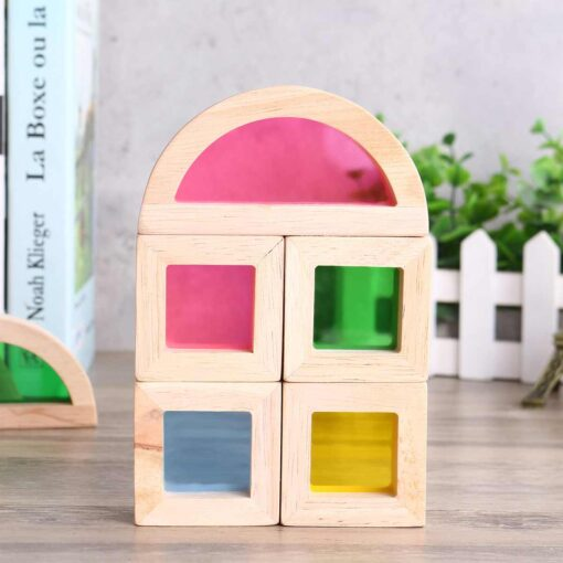 Wooden Blocks Construction Building Toy Stacking Rainbow Blocks Colorful Cognitive Toys Montessori Kids Gifts 24Pcs Set 1