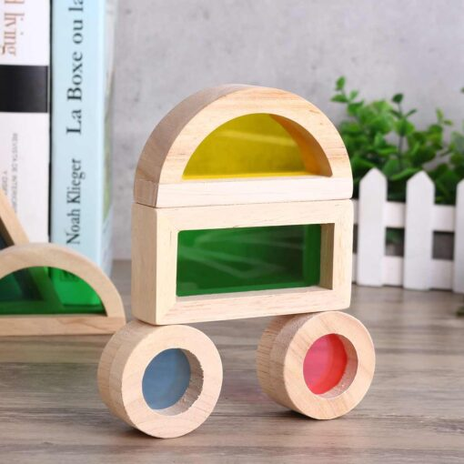 Wooden Blocks Construction Building Toy Stacking Rainbow Blocks Colorful Cognitive Toys Montessori Kids Gifts 24Pcs Set 2