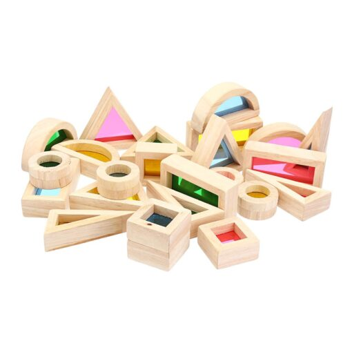 Wooden Blocks Construction Building Toy Stacking Rainbow Blocks Colorful Cognitive Toys Montessori Kids Gifts 24Pcs Set 3