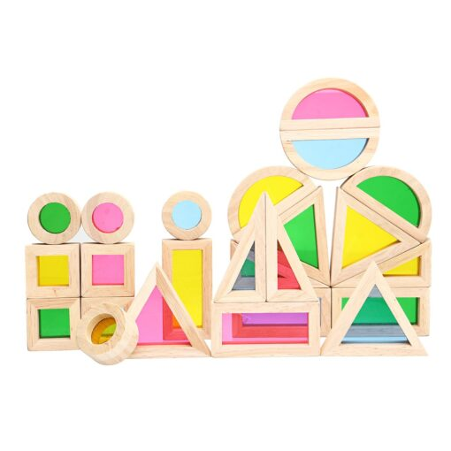 Wooden Blocks Construction Building Toy Stacking Rainbow Blocks Colorful Cognitive Toys Montessori Kids Gifts 24Pcs Set