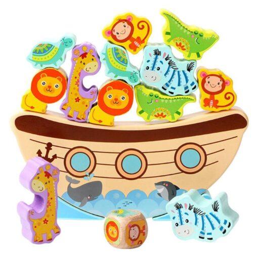 Wooden Building Blocks Bitable Paint Baby Stacking Balance Game Boat Wave Base Animal Children Baby Education 2