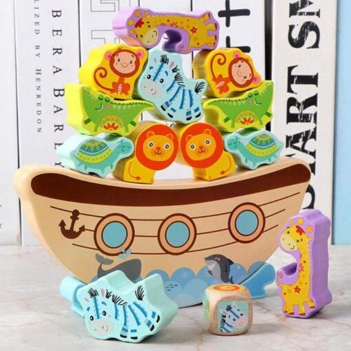 Wooden Building Blocks Bitable Paint Baby Stacking Balance Game Boat Wave Base Animal Children Baby Education