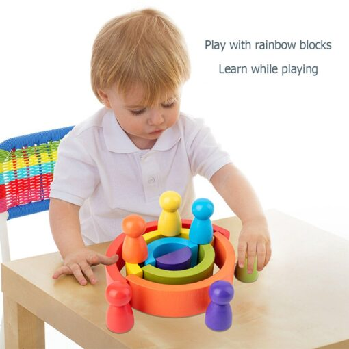 Wooden Children Puzzle Colorful Semicircle Stacking Toys Fun Building Blocks Wooden Puzzle Early Learning Toys 3