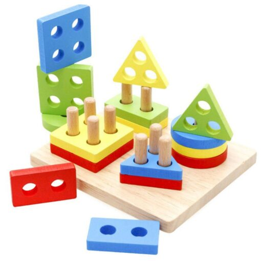 Wooden Constructor Rainbow Kids Baby Learning Geometry Educational Toys Puzzle 3d Iq Puzzle For Kids Baby 1