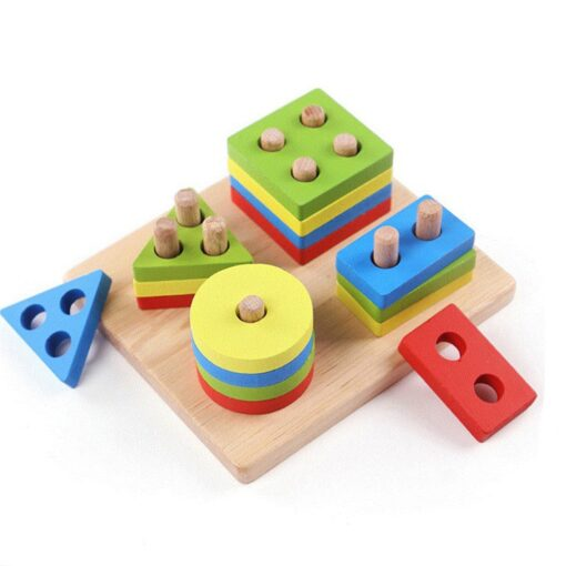 Wooden Constructor Rainbow Kids Baby Learning Geometry Educational Toys Puzzle 3d Iq Puzzle For Kids Baby 2