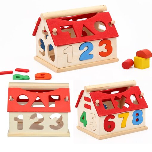 Wooden Geometric Shapes Montessori Puzzle Sorting Math Bricks Preschool Learning Educational Game Baby Toddler Toys for