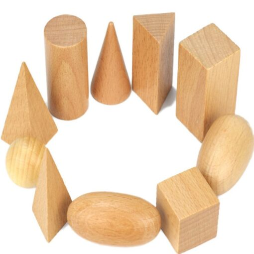 Wooden Geometric Solids 3 D Shapes Montessori Learning Education Math Toys Resources for School Home