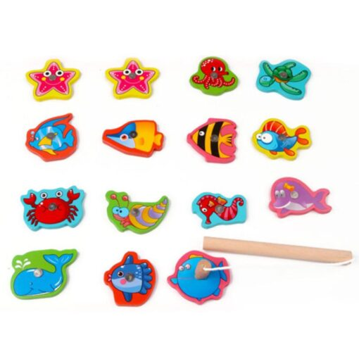 Wooden Magnetic Fish Toys Kids Educational Fishing Magnet Puzzle Game Intelligence Gifts Iron box Parent child 2
