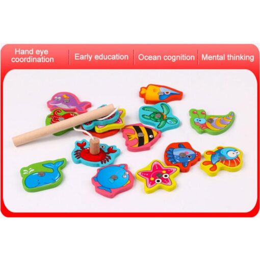 Wooden Magnetic Fish Toys Kids Educational Fishing Magnet Puzzle Game Intelligence Gifts Iron box Parent child 4