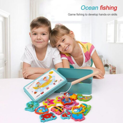 Wooden Magnetic Fish Toys Kids Educational Fishing Magnet Puzzle Game Intelligence Gifts Iron box Parent child