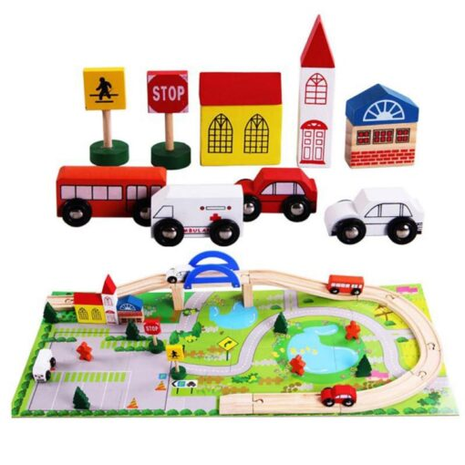 Wooden Toy Small Train Track Car Puzzles Play House Children s Educational Early Childhood Education Toy