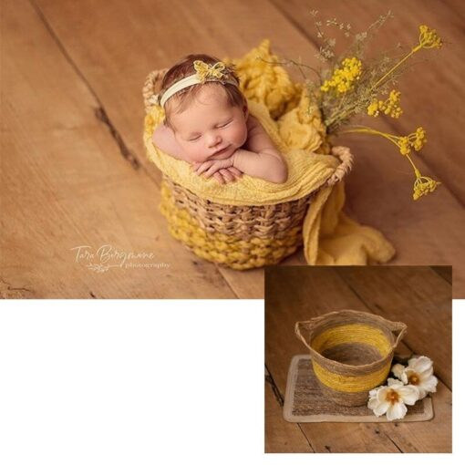 Yellow Children s Studio Woven Basket Newborn Photography Props Basket Baby Photo Weaving Frame Infant Basket 3