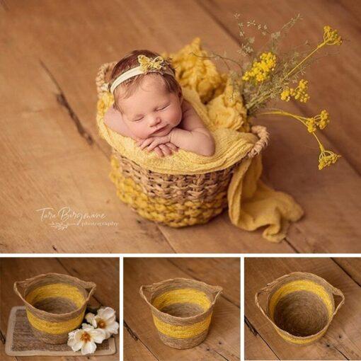 Yellow Children s Studio Woven Basket Newborn Photography Props Basket Baby Photo Weaving Frame Infant Basket