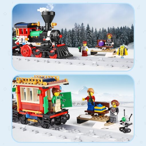 Yeshin 36001 Motorized Techic Car Model Compatible With 10254 Winter Holiday Train Building Blocks Bricks Kids 5