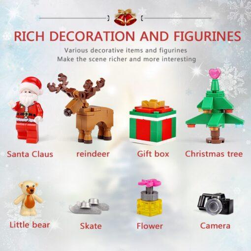 Yeshin Christmas Toys The 3D Foldable Christmas Store Book Set Building Blocks Bricks Kits Santa Claus 3