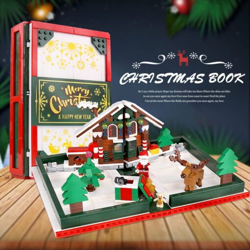Yeshin Christmas Toys The 3D Foldable Christmas Store Book Set Building Blocks Bricks Kits Santa Claus 4