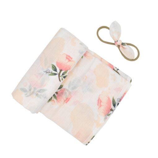 Ylsteed 2Pcs Muslin Swaddle Blankets Headband Set Soft 100 Cotton Newborn Receiving Blankets Infant Swaddling Wrap