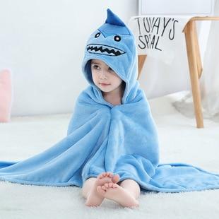 baby blanket hoodie children s bath towel cape animal cartoon baby cover Children s cloak 1