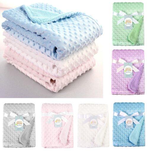 baby blankets Newborn Baby Solid Blanket Swaddling Thermal Soft Fleece Blanket Bedding Quilt kocyk dla dziecka