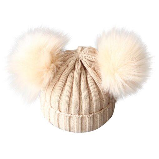 baby hat baby beanie Cute Winter Keep Warm Knitted Wool Hiarball Fur Ball Cap Hemming Hats 1