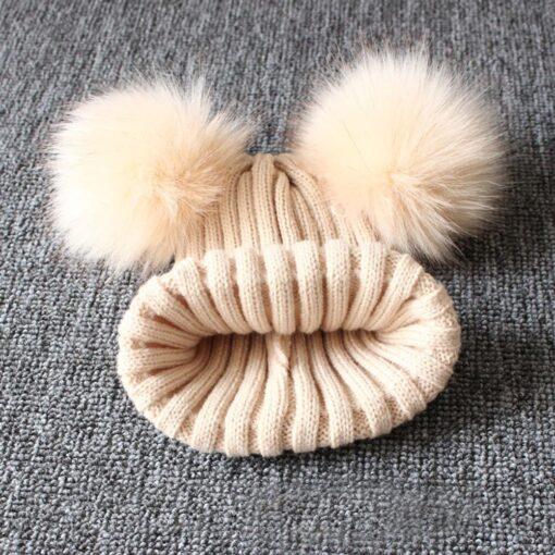 baby hat baby beanie Cute Winter Keep Warm Knitted Wool Hiarball Fur Ball Cap Hemming Hats 2