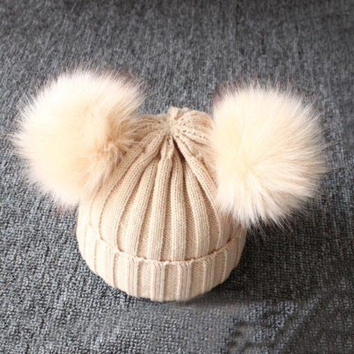 baby hat baby beanie Cute Winter Keep Warm Knitted Wool Hiarball Fur Ball Cap Hemming Hats 3