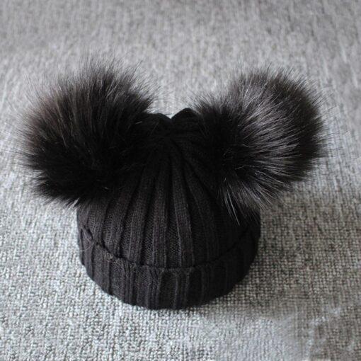 baby hat baby beanie Cute Winter Keep Warm Knitted Wool Hiarball Fur Ball Cap Hemming Hats 4