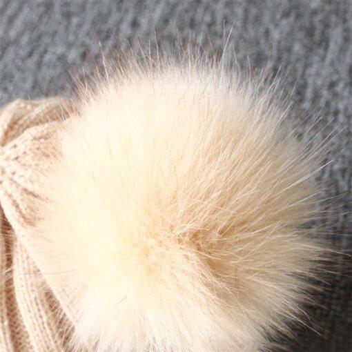 baby hat baby beanie Cute Winter Keep Warm Knitted Wool Hiarball Fur Ball Cap Hemming Hats 5