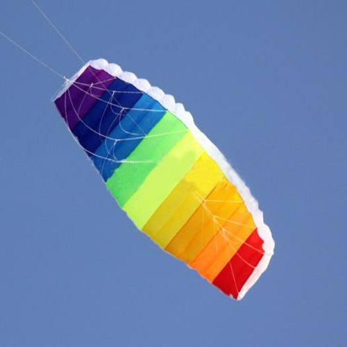 free shipping dual line 1 5m Parafoil kites flying rainbow Sports Beach stunt kite with handle 1